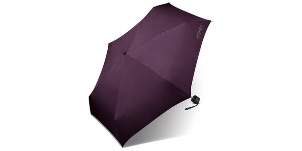Dámsky tmavo fialový skladací dáždnik Esprit s šedivým logom