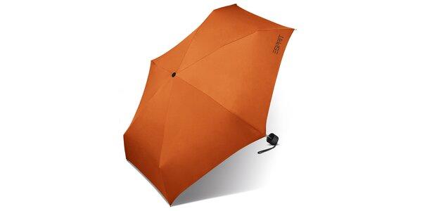 Dámsky tmavo oranžový skladací dáždnik Esprit s čiernym logom