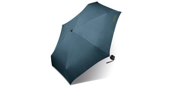Dámsky modro-šedý dáždnik Esprit so zeleným logom
