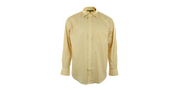 Pánska žltá košeľa so špicatým límčekom Perry Ellis