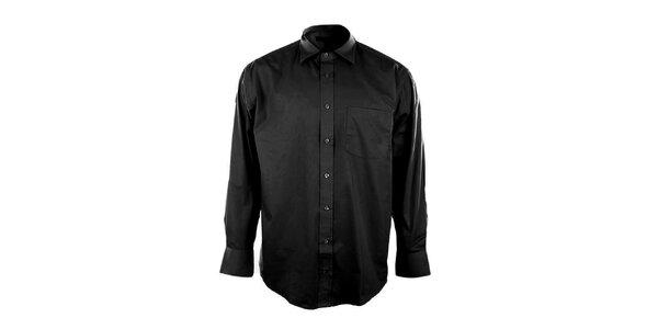 Pánska čierna košeľa so špicatým límčekom Perry Ellis