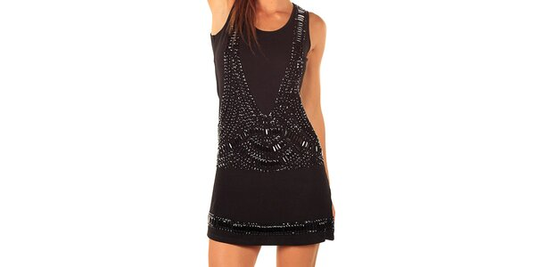 Dámske čierne šaty s kamienkovými aplikáciami Ada Gatti