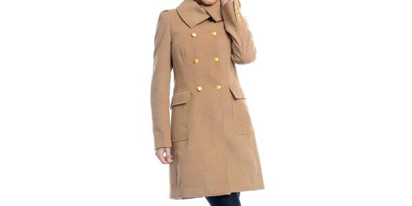 Dámsky oranžový kabát so žltými gombíkmi Estella