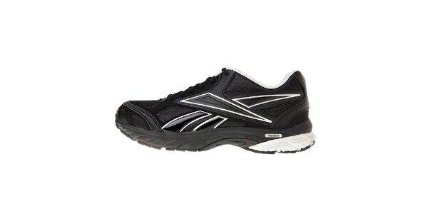 Dámske čierne bežecké topánky Reebok so striebornými detailami