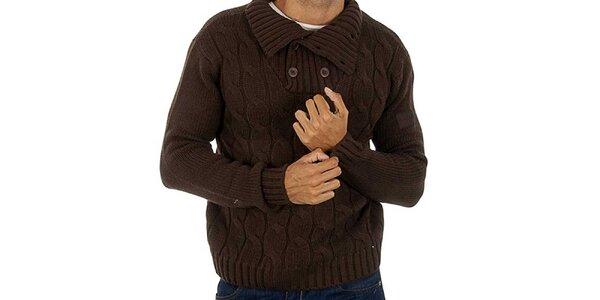 Pánsky hnedý pletený sveter s vrkôčikmi Lotto