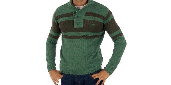 Pánsky zelený pletený sveter s pruhmi Lotto