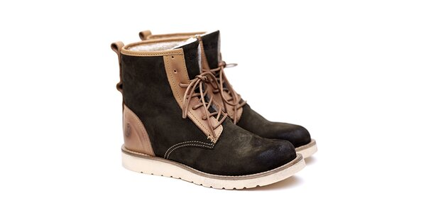 Pánske zeleno-béžové semišové topánky Shoe the Bear