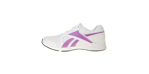 Dámske biele športové topánky Reebok s ružovými detailami