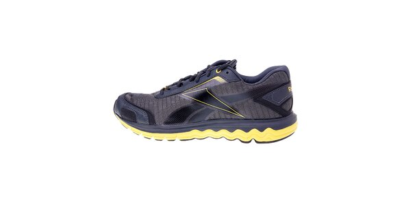 Pánske tmavo šedé bežecké topánky Reebok so žltými detailami