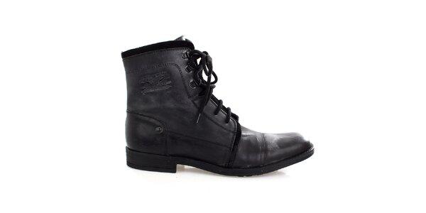 Pánske čierne kožené šnúrovacie topánky Levis