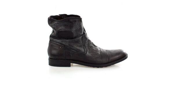 Pánske vyššie kožené topánky s vintage povrchom Levis