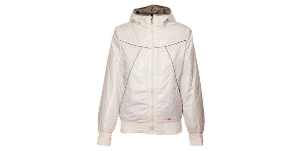 Dámska biela zimná bunda Exe Jeans s béžovými detailami