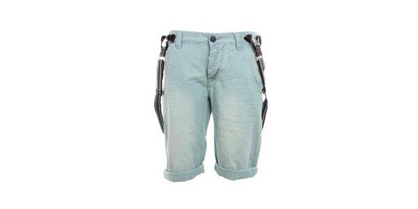 Pánske svetlo modré kraťasy s trakmi Exe Jeans