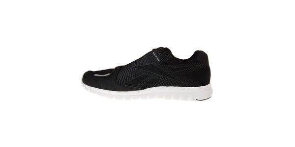 Pánske čierne bežecké topánky Reebok s bielou podrážkou