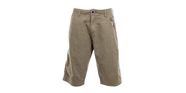 Pánske hnedé kraťasy Exe Jeans s vreckom na zips