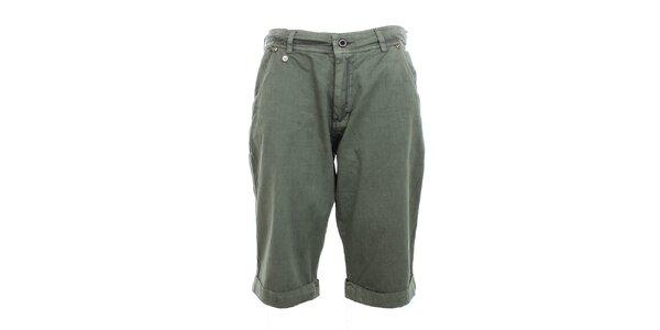 Pánske šedo-zelené kraťasy Exe Jeans