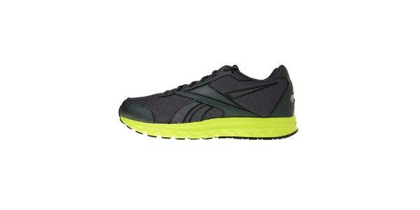 Pánske tmavo šedé bežecké topánky Reebok so zelenou podrážkou