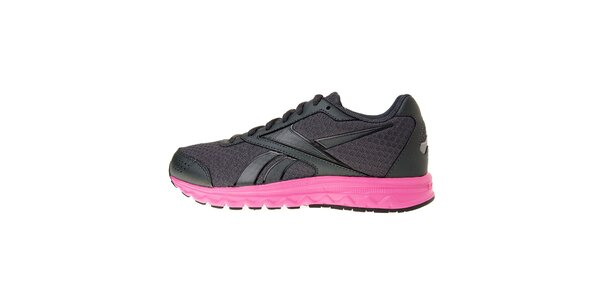 Dámske tmavo šedé bežecké topánky Rebook s ružovou podrážkou