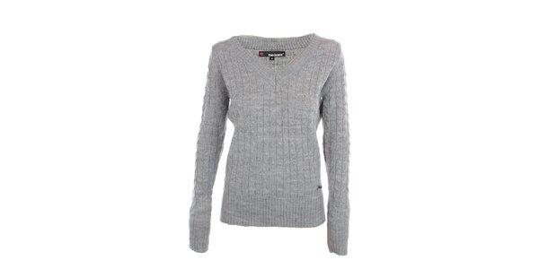 Dámsky šedý sveter s véčkovým výstrihom Exe Jeans