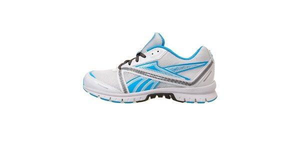 Dámske biele bežecké topánky Reebok so svetlo modrými prvkami