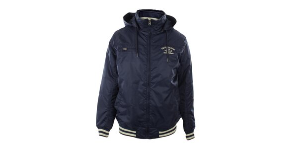 Pánska tmavo modrá bunda s kapucňou Exe Jeans