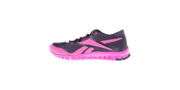 Dámske šedo-ružové bežecké topánky Reebok s technologiou RealFlex
