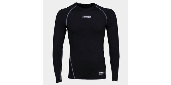 Pánske čierne kompresné tričko Sveep s dlhým rukávom