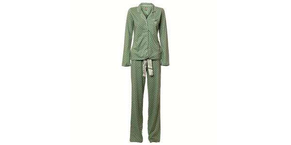 Dámske zelené bodkované pyžamo Vive Maria