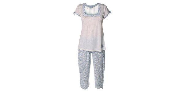 Dámsky modro-biely pyžamový set s potlačou Vive Maria