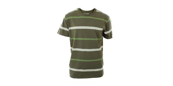 Pánske olivovo zelené tričko s prúžkami Hannah