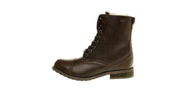 Dámske khaki kotníčkové topánky Buffalo s kožúškom