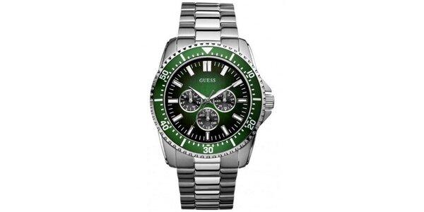 Pánske oceľové hodinky so zeleným rámovaním Guess