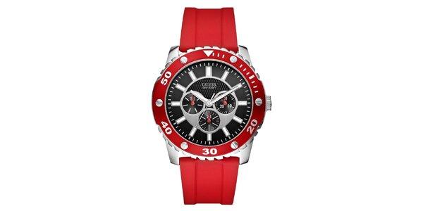 Pánske červené športové hodinky z ocele Guess