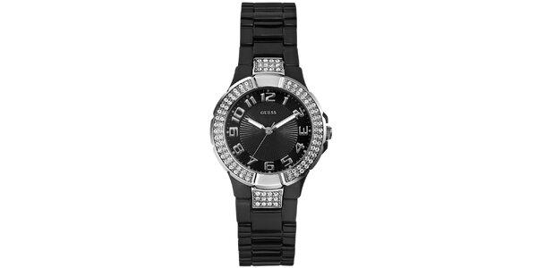 Dámske analógové hodinky s kamienkami Guess