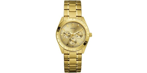 Dámske pozlátené analógové hodinky Guess