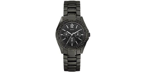 Dámske hranaté čierne hodinky s kamienkami Guess