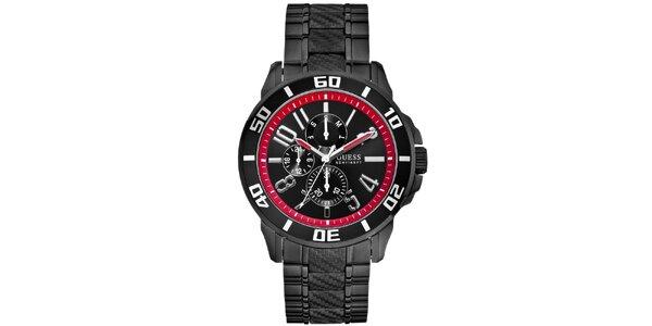 Pánske čierne hodinky s červenými detailmi Guess