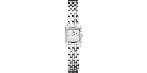 Dámske hranaté strieborné hodinky s kamienkami Guess