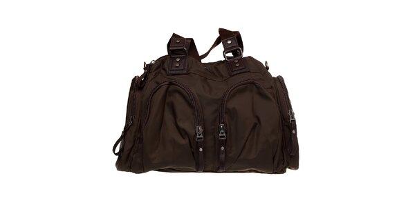 Dámska olivovo zelená nylonová taška Buffalo s hnedými prvkami