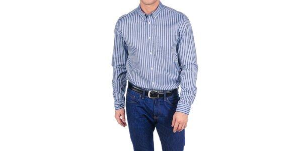 Pánska modrá bavlnená košeľa s pruhmi Hackett London