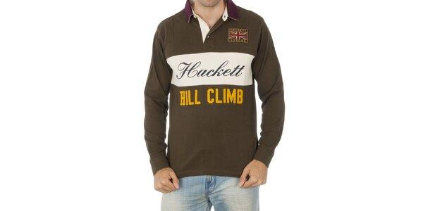 Pánske hnedé polo tričko s nápisom Hackett London