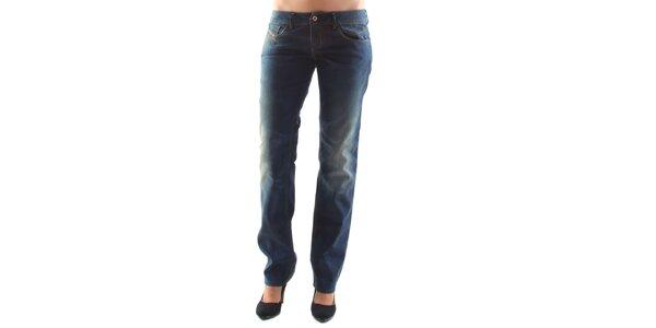 Dámske modré džínsy s šisovanými kolenami Diesel