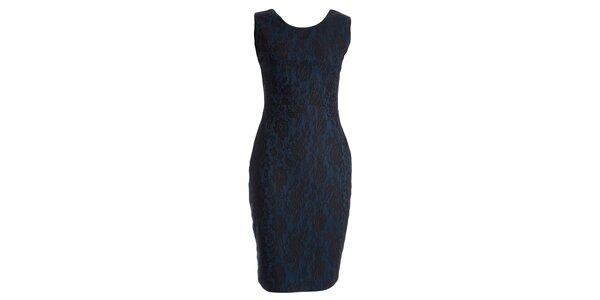 Dámske modré šaty s motívom čipky JDC London