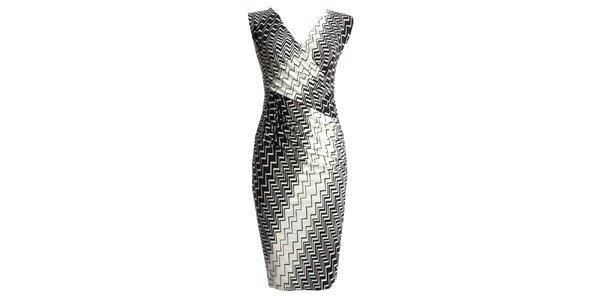 Dámske čiernokrémové zavinovacie šaty JDC London