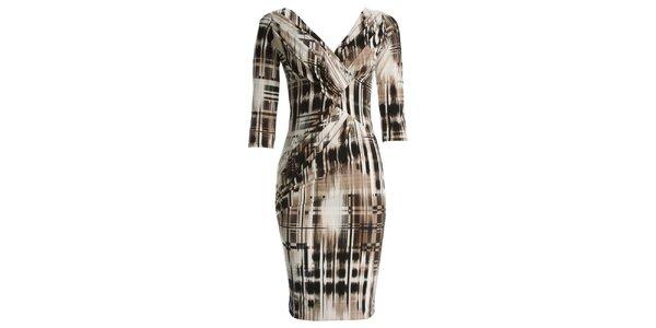 Dámske šaty s béžovočiernou potlačou JDC London