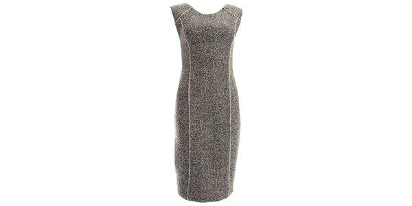Dámske šedé šaty s kontrastnými prúžkami JDC London