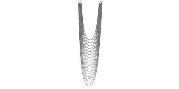 Dámsky mnohoradový strieborno tónovaný náhrdelník Esprit