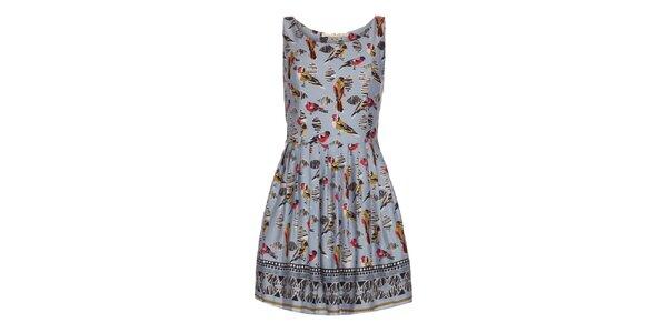 Dámske svetlo modré šaty s potlačou vtáčikov Uttam Boutique
