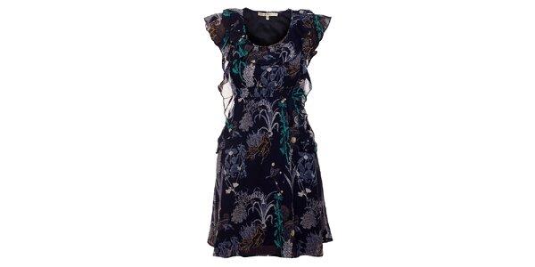 Dámske tmavo modré šaty Uttam Boutique s potlačou