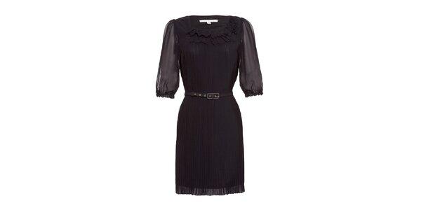 Dámske čierne plisované šaty s opaskom Uttam Boutique